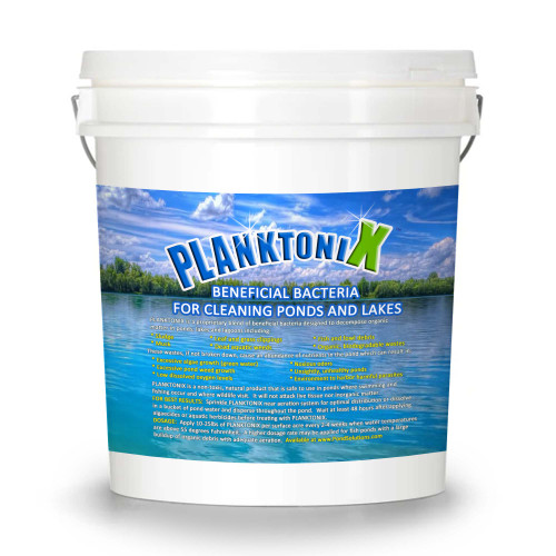 PlanktoniX Beneficial Pond Cleaning Bacteria, 25 lbs.  Voted #1 pond cleaning bacteria that cleans ponds of sludge, muck, and organic debris without harming fish or wildlife and safe for humans to swim in.  An all-natural pond bacteria that cleans ponds naturally.   Safe and effective.  Start cleaning your pond with PlanktoniX today!