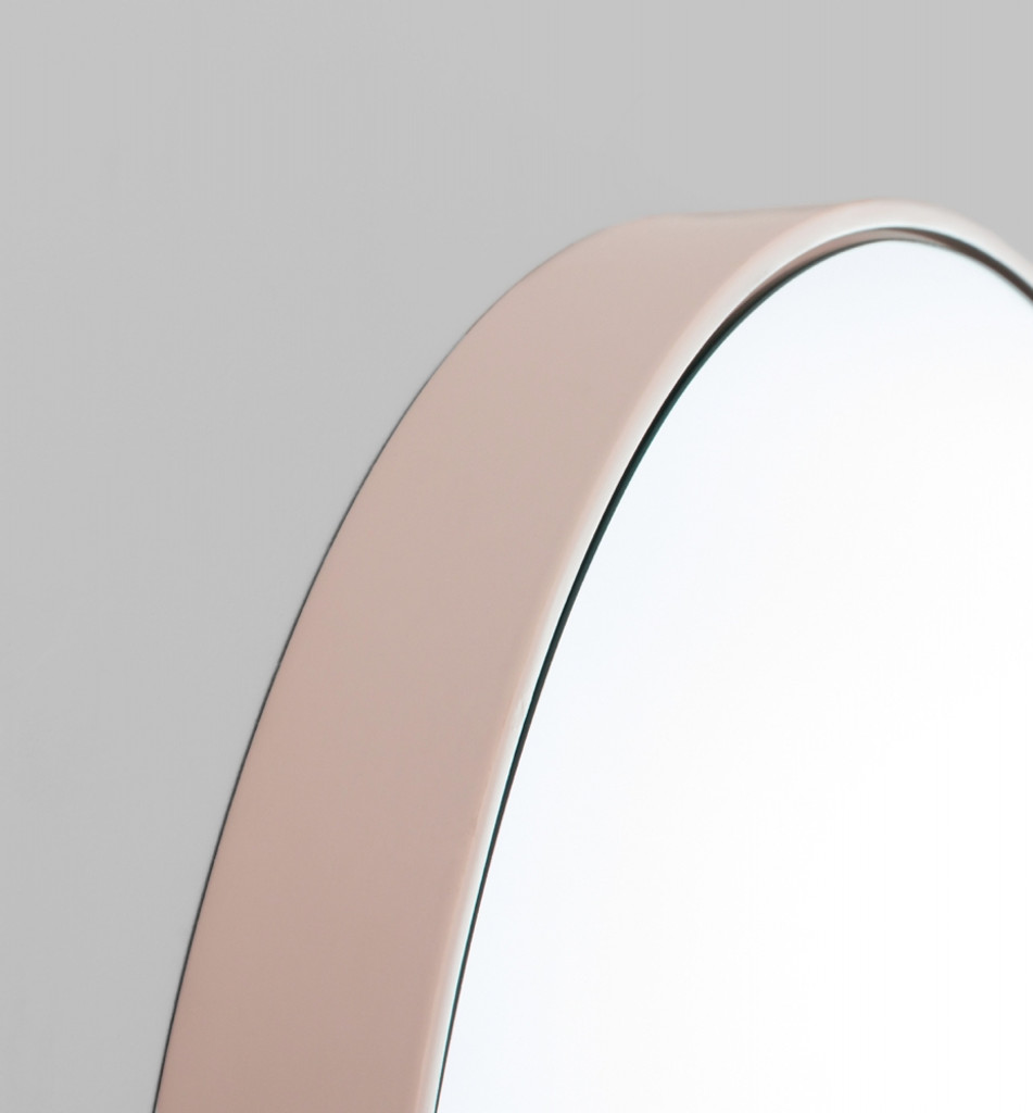 Pink Framed Round Mirror