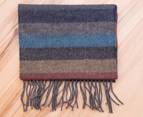Men's Blue Grey Stripe Wool Scarf