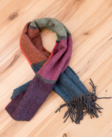 Rustic Panel Stripe Lambs Wool Scarf
