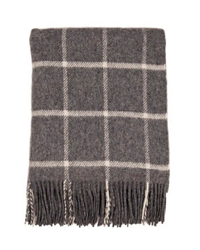 Grey Windowpane Stripe Wool Throw