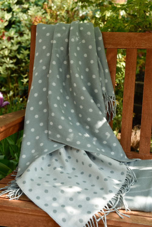 Aqua Spot Wool Throw Blanket