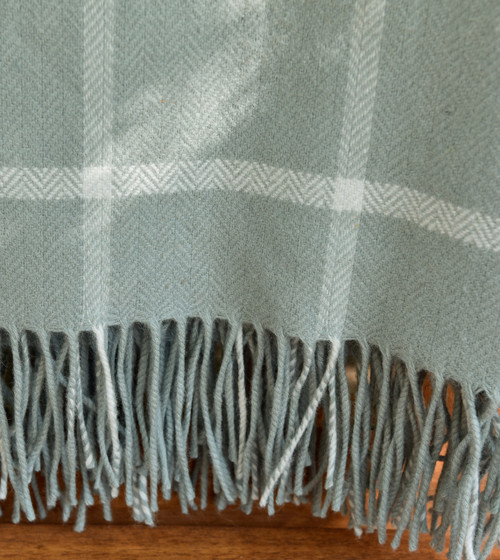 Aqua Windowpane Lambswool Throw