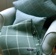Aqua Windowpane Lambs Wool Throw