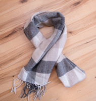 Natural Wool Check Scarf