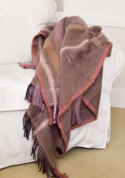 Relieve Plum and Rose Mohair and Wool Throw Blanket