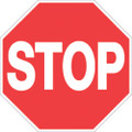 "RED PLASTIC REFLECTIVE TRAIL SIGN 12"" - STOP 421 ST RR"