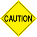 "YELLOW PLASTIC REFLECTIVE SIGN 12"" - CAUTION 402 CAU YR"