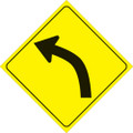 "YELLOW PLASTIC REFLECTIVE SIGN 12"" - LEFT CURVE (407 3UR YR)"
