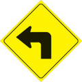 "YELLOW PLASTIC REFLECTIVE SIGN 12"" - LEFT TURN"