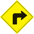 """YELLOW PLASTIC REFLECTIVE SIGN 12"""" - RIGHT TURN (469 RT YR)"""