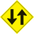 "YELLOW PLASTIC REFLECTIVE SIGN 12"" - TWO WAY (420 TW YR)"