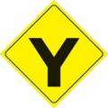 "YELLOW PLASTIC REFLECTIVE SIGN 12"" - Y-INTERSECTION (436 Y YR)"