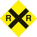 "YELLOW PLASTIC REFLECTIVE SIGN 12"" - RAILROAD (489 RR YR)"