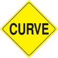 "YELLOW PLASTIC REFLECTIVE SIGN 12"" - CURVE (423 CU YR)"