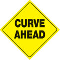 "YELLOW PLASTIC REFLECTIVE SIGN 12"" - CURVE AHEAD (471 CA YR)"
