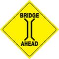 "YELLOW PLASTIC REFLECTIVE SIGN 12"" - BRIDGE (408 BRIA YR)"