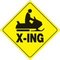 "YELLOW PLASTIC REFLECTIVE SIGN 12"" - SNOWMOBILE X-ING (438 SX YR)"