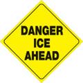 "YELLOW PLASTIC REFLECTIVE SIGN 12"" - DANGER ICE AHEAD (429 DIA YR)"