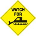 "YELLOW PLASTIC REFLECTIVE SIGN 12"" - WATCH GROOMER (496 WG YR)"