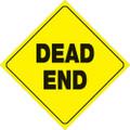 "YELLOW PLASTIC REFLECTIVE SIGN 12"" - DEAD END (472 DE YR)"