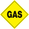 "YELLOW PLASTIC REFLECTIVE SIGN 12"" - GAS (454 G YR)"