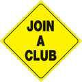 """YELLOW PLASTIC REFLECTIVE SIGN 12"""" - JOIN A CLUB (479 JAC YR)"""