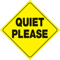 """YELLOW PLASTIC REFLECTIVE SIGN 12"""" - QUIET PLEASE (451 QP YR)"""