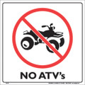 "WHITE PLASTIC SIGN 12"" - NO ATV'S (310 ATV WP)"