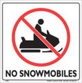"""WHITE PLASTIC SIGN 12"""" - NO SNOWMOBILES (328 NSB WP)"""
