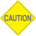 "YELLOW PLASTIC REFLECTIVE SIGN 7.5"" - CAUTION (456 CA7 YR)"