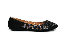 Kira Black Ballet Flat with Rhinestone Detail