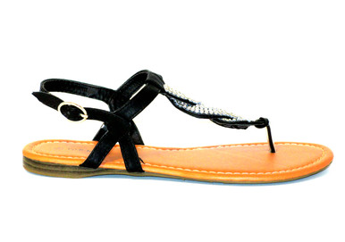 The Iris is a black thong sandal with dazzling rhinestone details. Perfect for pairing with shorts, leggings or a skirt.