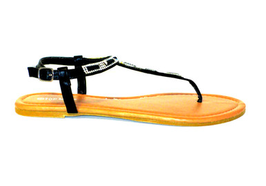 The Terri in black is the perfect flat thong sandal for summer featuring rhinestones & an ankle strap.