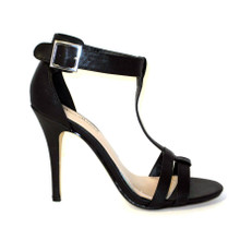 The Emma is a sexy, clean, simple black high heel sandal with a t-strap, wear it for a special night out!