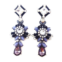 Bella Rhinestone Earrings Black & Dark Grey