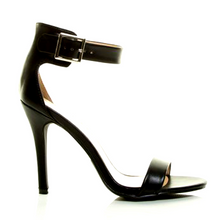 Cindy Black High Heel Ankle Strap Sandal
