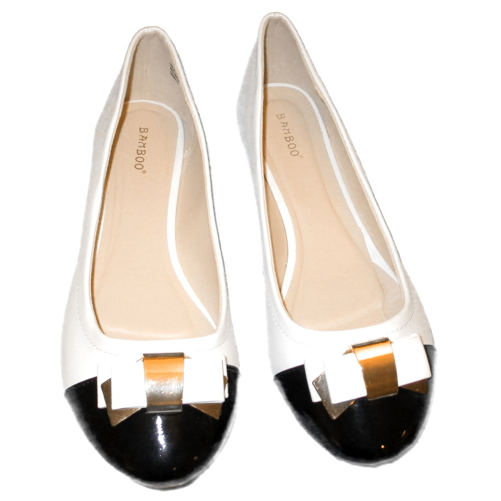 7ded0c25b9d bamboo ballet flats black and white with bow and gold accent. Larger   More  Photos