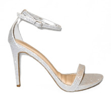 *FEATURED* Silver Glitter Strappy High Heel Sandal
