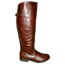 Wide Calf Brown Boots with Side Zipper & Buckle