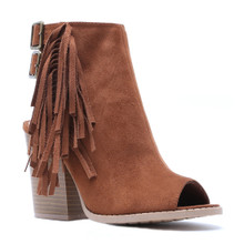 qupid open toe heeled bootie with side fringe
