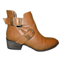 Tan Low Heel Ankle Booties with Double Metal Straps