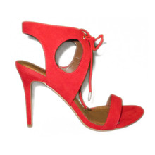 Open Toe High Heel Red Strappy Sandals