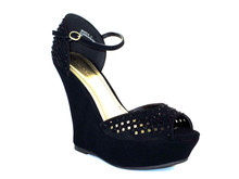 Leya Black Platform Wedge