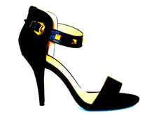 Tina Black High Heel Sandal with Gold Tone Ankle Strap