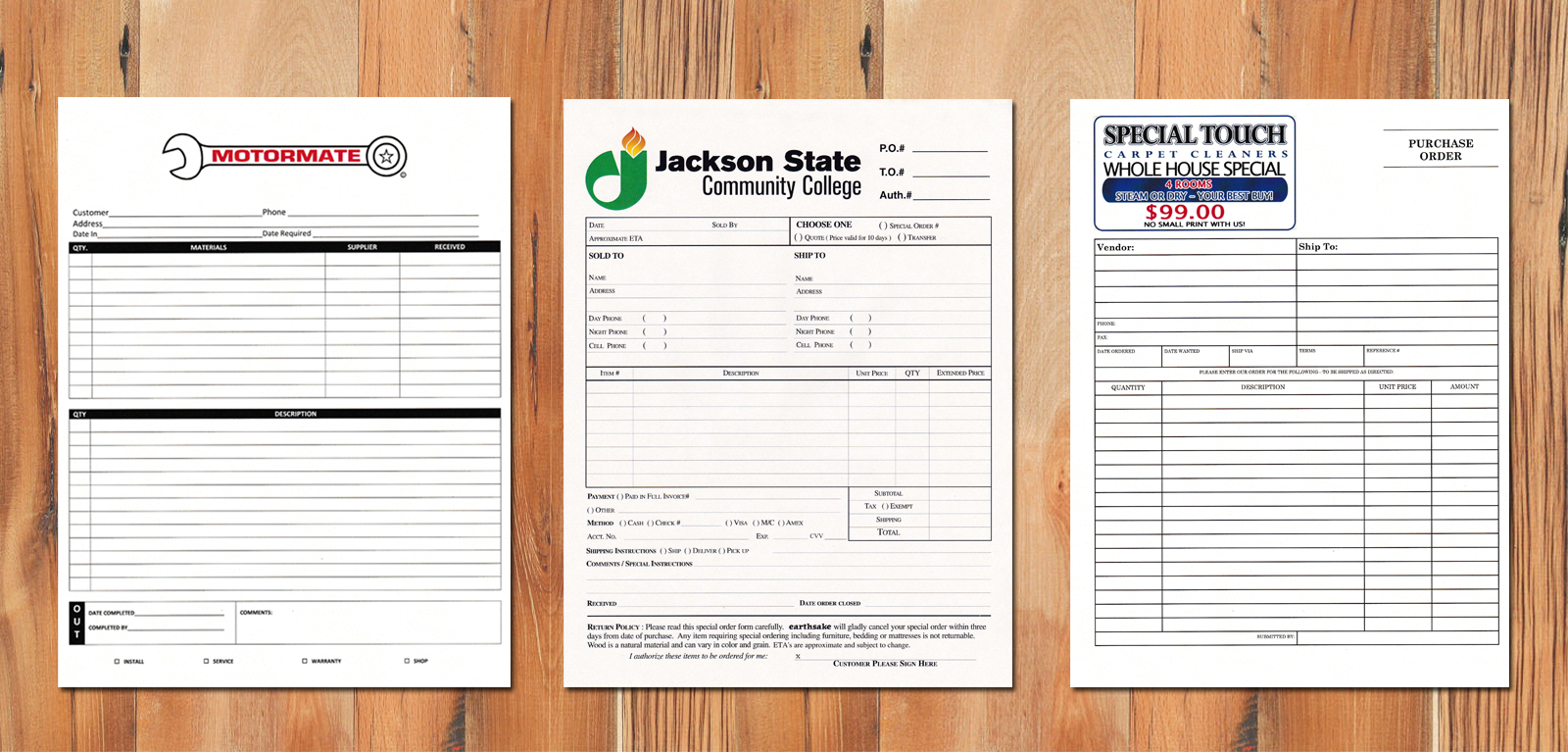 3 part forms, carbonless form printing, custom carbonless forms, ncr forms, sequential numbering, online printers