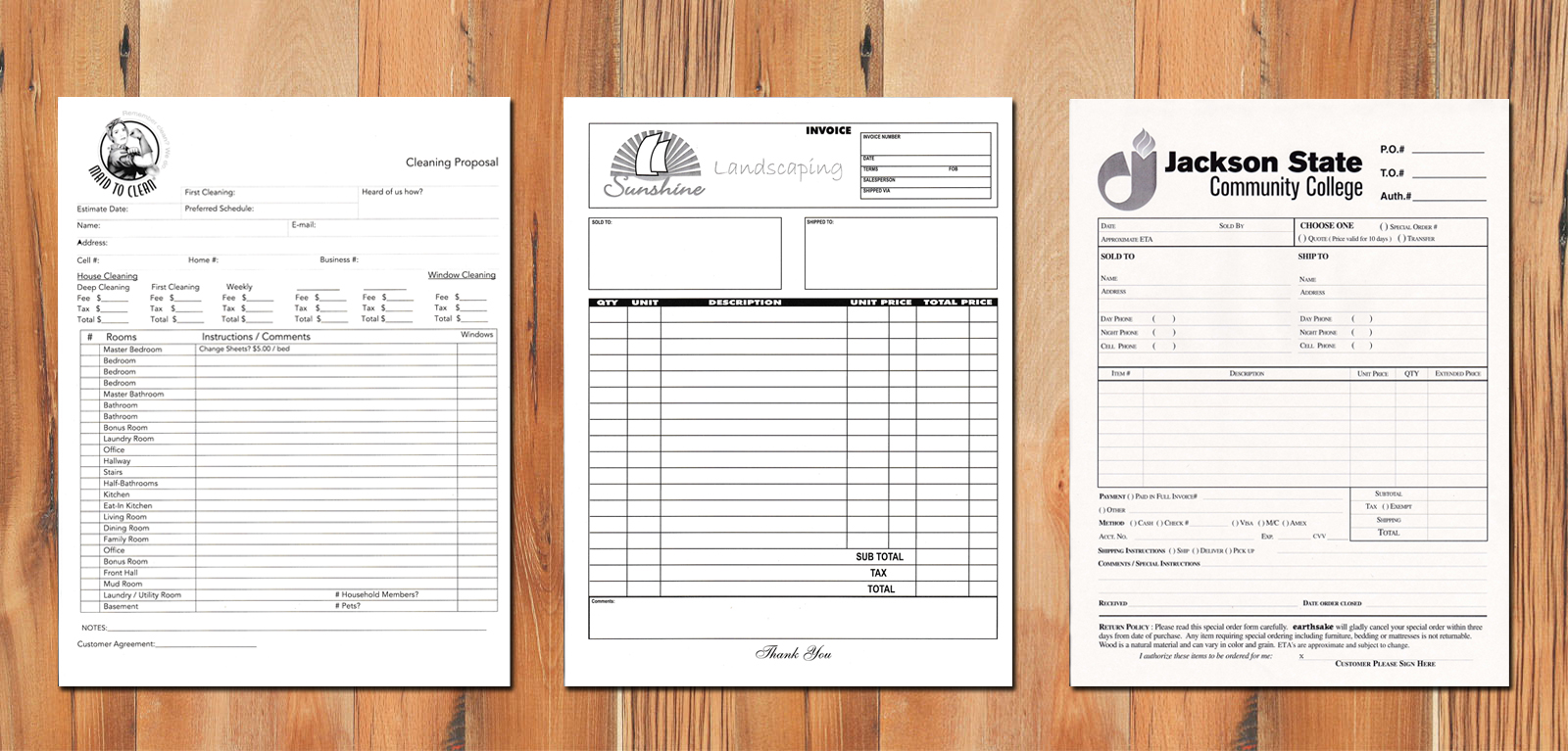 carbonless forms printing, carbonless form printing, landscape forms, order form, registration form, custom carbonless forms