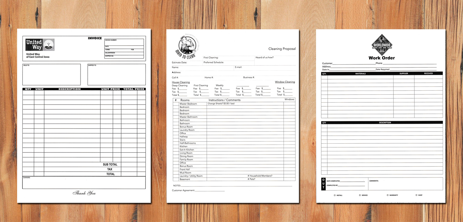 custom carbonless forms, full color carbonless forms, custom printed invoices, custom triplicate forms, custom full color, customer receipt, invoice copy, print forms