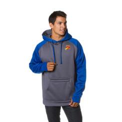 Z Logo Poly Raglan Pullover Hoodie: Royal/Charcoal