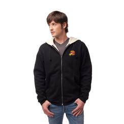 Z Logo Sherpa Zip Up  Hoodie: Black